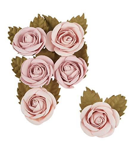 Artemio 11060586 Secret Garden Papierrose, 8,9 cm, Altrosa – 6 Stück, Rose