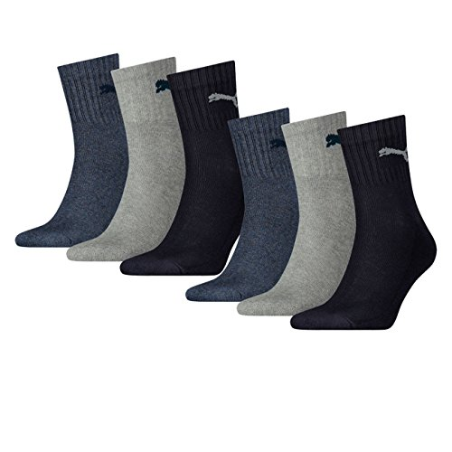 Puma Unisex Short Crew Socken Basic Sportsocken 6er Pack, Größe:43-46, Farbe:Navy/grey/Nightshadow Blue (532)