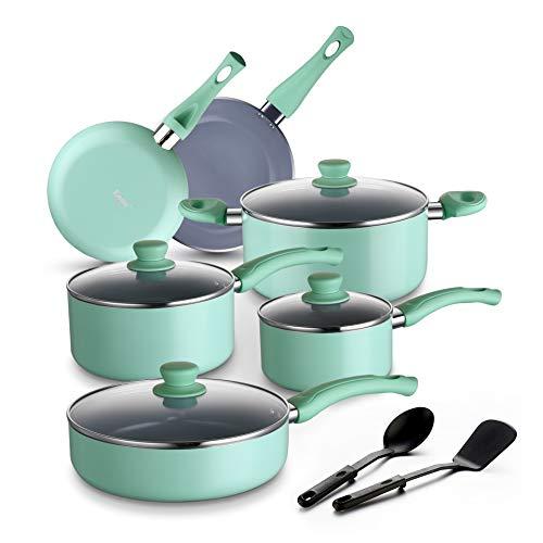 Amazon Brand – Eono Pot and Pan Set -Non Stick Grey Ceramic Coated Cookware Set with Lids Dishwasher Safe Aluminium Pots and Pans - 2 Nylon Utensils -12-Piece,Mint Green