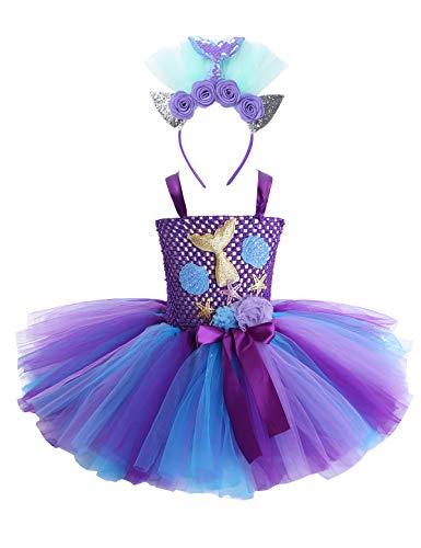 iEFiEL Mädchen Kleines Meerjungfrau Kostüm Prinzessin Kleid Kinder Ballett Tütü mit Stirnband Lila Regenbogen Rock für Geburtstagsfeier Karneval Cosplay Violett 116-122