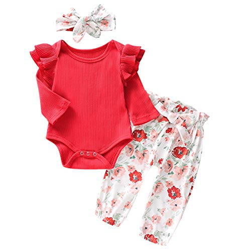 Borlai - Conjunto de ropa para niña de algodón, 3 piezas (body de manga larga, pantalones florales y cinta para el pelo)