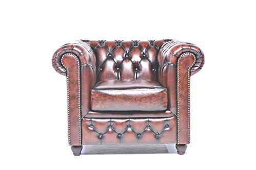 The Chesterfield Brand - Sillón Chester Brighton Marrón Gastado -Hecho artesanal en cuero natural