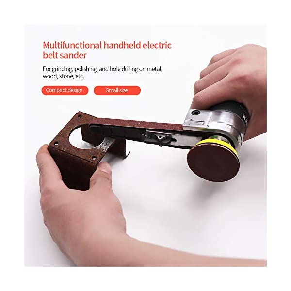 KKmoon Lijadora de Banda Eléctrica mini Amoladora Eléctrica Pequeña Amoladora de Mano con Correas de Lijado