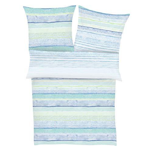 Zeitgeist Luanda Bettwäsche 135x200 cm - Satinbettwäsche blau, 100% Baumwolle, 2 teilig mit Reißverschluss