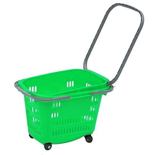 Supermarket Einkaufskorb, Einkaufstrolley mit Rollen, Einkaufskorb aus Kunststoff, Einkaufskorb mit 2 Rädern, Teleskopstange, kleines Gewicht 1