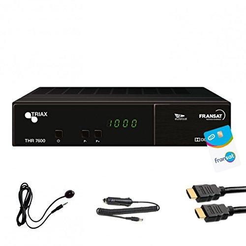 Triax THR 7600HD Satelliten Receiver + Karte FRANSAT + Cable 12V +, Abstand ir + Cable HDMI 2m–thr7600fullpack