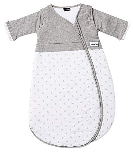 Gesslein Bubou Design 083: Temperaturregulierender Ganzjahreschlafsack/Schlafsack für Babys/Kinder, Größe 110, grau/Weiß mit Sternchen