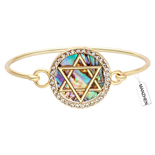 MANZHEN Jewish Charm Star of David Abalone Shell Wire Openable Crystal...