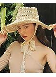 Hollosport 麦わら帽子 レディース ストローハット つば広 UVカット リボン付き 折りたたみ可 おしゃれ 小顔 小型 かわいい 持ち運びやすい 旅行 アウトドア ビーチ プレゼント 56-58cm (透かし彫り-ベージュ)