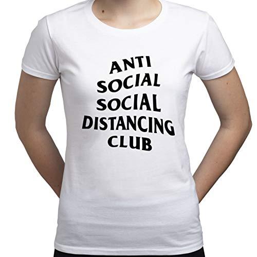 Social Distance Anti Social Covid 19 Tshirt Camiseta para Mujer Blanco XL