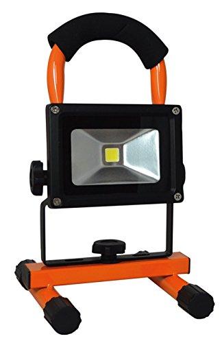 Tibelec 347960 Projecteur LED de chantier rechargeable, Métal, 10 W, Orange, 162 x 143 x 260 mm