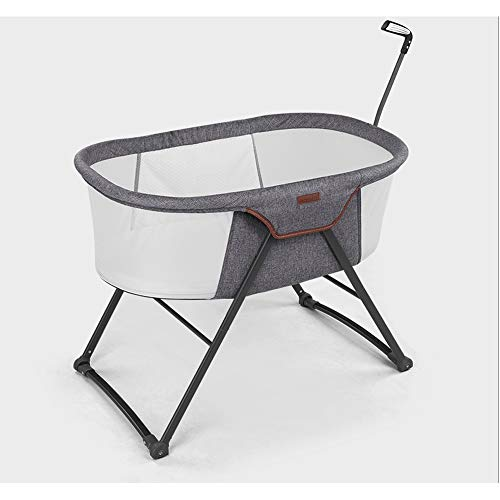 Rocking Crib Opvouwbare - Rocking & Stevige Cradle - Inclusief draagtasje, Klamboe, Matras, Portable Bed Side Sleeper for pasgeboren baby (Color : Gray)