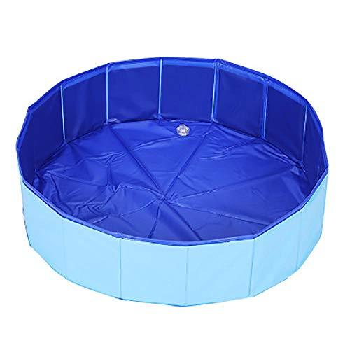 Bels Planschbecken für Hunde, extra groß, Kunststoff, faltbar, tragbar, Planschbecken für Hunde, PVC, rutschfest, für den Außenbereich, für Welpen, Kinderpool im Garten, 120 x 30 cm, Blau
