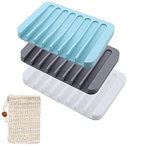 Yomiin 3 Stück Seifenschalen,Kreative Selbstleerend Silikon Dusche Seifenhalter Seifenablage Seifenkiste mit 1 Stück Seifensäckchen,Rutschfreies Design,für Dusche/Badezimmer/Küche/Zähler