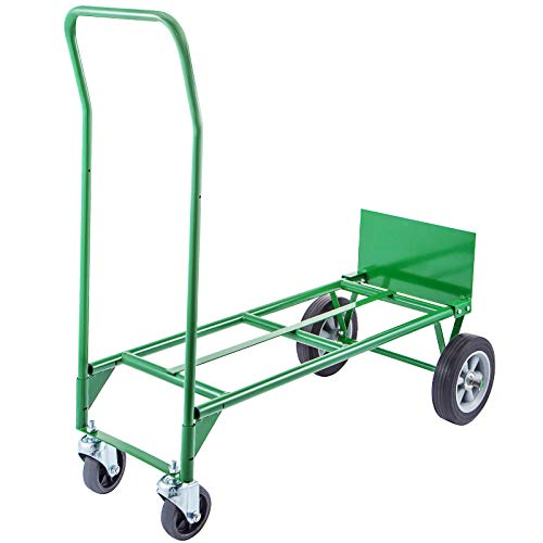 BestEquip Convertible Hand Truck 200lb/300lb Capacity Convertible Dolly with 8 Inch Plastic Core Wheels and 5 Inch Swivel Caster Dolly Cart 2 Wheels Dolly and 4 Wheels Cart Handling Equipment in Green