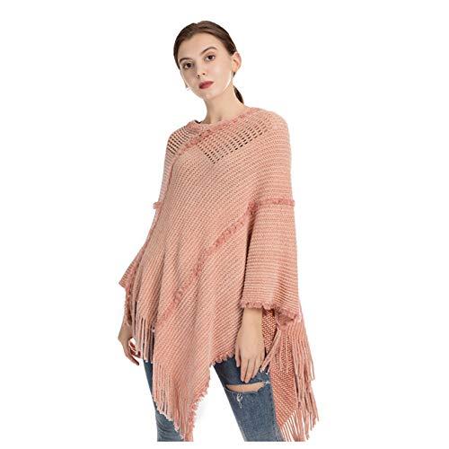 GAOHONGMEI Poncho de punto para mujer, con patrones de rayas y flecos y bufanda, abrigo de suéter, color rosa, 90 x 90 cm