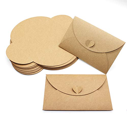 24 Pcs Vintage Kraft Gift Card Envelopes, Gift Card Envelopes Craft Photo Envelopes Gift Card Holders Mini Seed Envelopes with Heart Shaped Clasp, for Gift Cards, Business Cards (6.89 x4.33 inch)