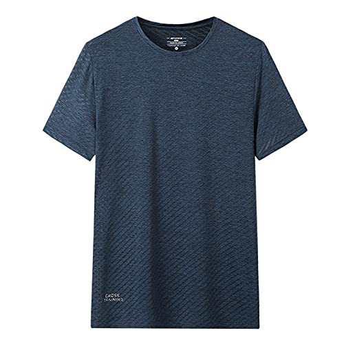 DamaiOpeningcs Camiseta Yoga Gimnasio,Camiseta de Secado rápido de Seda de Hielo para Hombre de Manga Corta de Manga Corta para Hombre-Zafiro_4XL