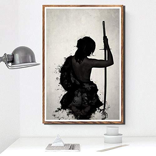 AQAAQ Poster Plakat Leinwanddrucke Leinwandbild Wandtattoos Poster Samurai Bushido Japan Anime Moderne Malerei Kunst Leinwand Ölgemälde Kunst Wandbilder Für Wohnzimmer Wohnkultur Mit Rahmen
