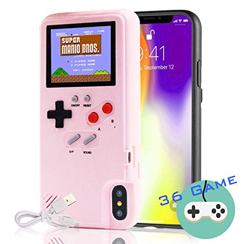 Autbye Gameboy Case for iPhone, Retro 3D Phone Case Game Console with 36 Classic Game, Color Display Shockproof Video Game Phone Case for iPhone 6/6S/7/8 (Pink)