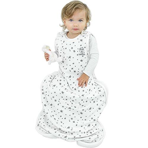 Woolino Ganzjahres-Schlafsack Merino-Wolle - Kleinkinder 2 bis 4 Jahre - Design Stars Gray