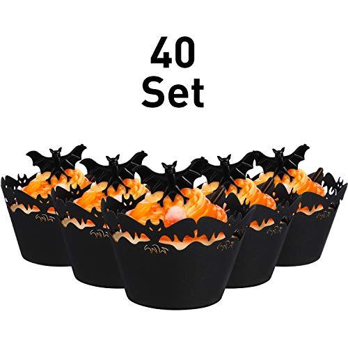 Hicarer 40 Set Cupcake Wrapper Backen Kuchen Papierbecher und Kunststoff Ringe Spielzeug Ringe Schmücken Kuchen Dekorative Zubehör für Halloween Party (Fledermaus, Schwarze Fledermaus Ringe)