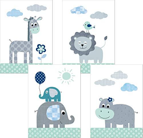 LALELU-Prints | A4 Bilder Kinderzimmer Deko Mädchen Junge | Zauberhafte Dschungel-Tiere mint | Poster Babyzimmer | 4er Set Kinderbilder (DIN A4 ohne Rahmen)