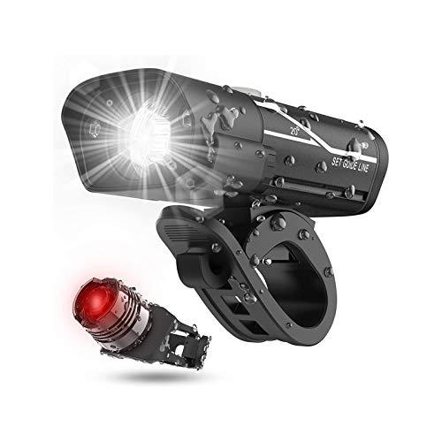 XTZJ USB recargable súper bicicleta faro y luz de fondo, tiempo de espalda, tiempo de ejecución 10+ Horas 600 LUMEN LUZ FRENTE FRENTE LUZ TABLE LED, 5 opciones de modo de luz Se adapta a todas las bic