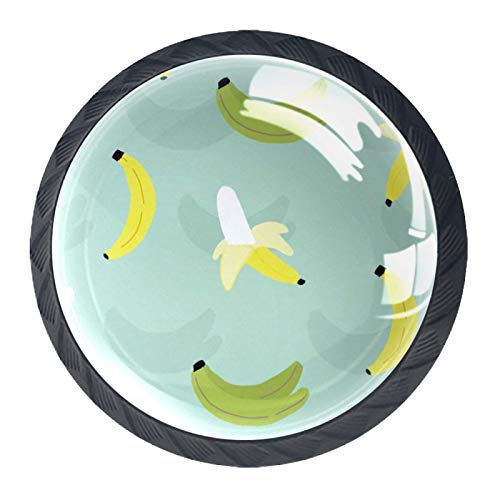 Juego de 4 pomos de cristal para gabinete de 1,18 pulgadas, tiradores de cristal para cocina, gabinete de baño, aparador y armario, patrón sin costuras de plátano