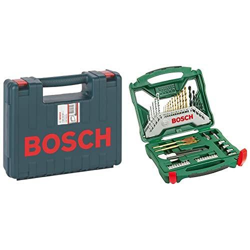 Bosch Professional 2 605 438 607Maletín de transporte, 350 x 294 x 105 mm, pack de 1 + 2 607 019 327 X-Line TitanioJuego de Brocas para Taladrar y Atornillar, Set 50 Piezas