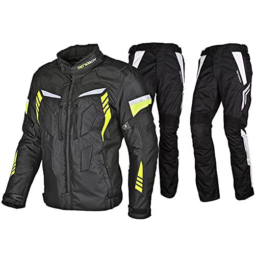 LITI 2 Piezas Traje De Moto Chaqueta Pantalón De Motorista Prueba De Viento Armadura De Equipo De Protección, para Hombre De Toda Estaciòn