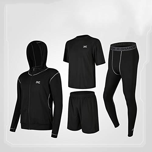 Wisport Costume de Fitness pour Hommes Costume de Sport de Fitness en Quatre pièces Vêtements de Course en Plein air pour Hommes Vêtements à séchage Rapide,08,2XL