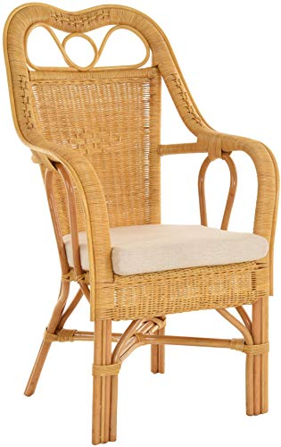 Krines Home Harry Conservatory Armchair with High Back Rest Rattan Chair Conservatory Chair Honey yellow