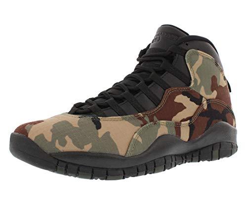 Nike Air Jordan Retro - Camuflaje de Bosque (25,4 cm), Color Negro y marrón Claro, Verde (Desert Camo/Black-Light Chocolate), 42 EU