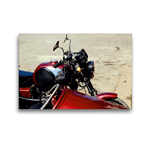 Premium Textil-Leinwand 45 x 30 cm Quer-Format Motorrad-Gespann der Marke MZ in Kuba | Wandbild, HD-Bild auf Keilrahmen, Fertigbild auf hochwertigem Vlies, Leinwanddruck von Henning von Löwis of Menar