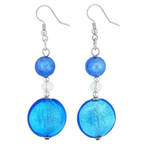 GlassOfVenice Beatrice - Pendientes largos de cristal de Murano, color azul