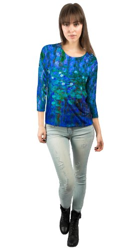 Yizzam - Monet - Blue Water Lilies…- New Ladies Womens 3/4 Sleeve-4X