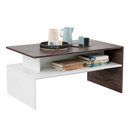 HOMFA Modern Console Table Coffee Table 2-tier, 35.4' Rectangular Storage Open Shelf Table for Living Room Sitting Room Home Furniture, Oak/White