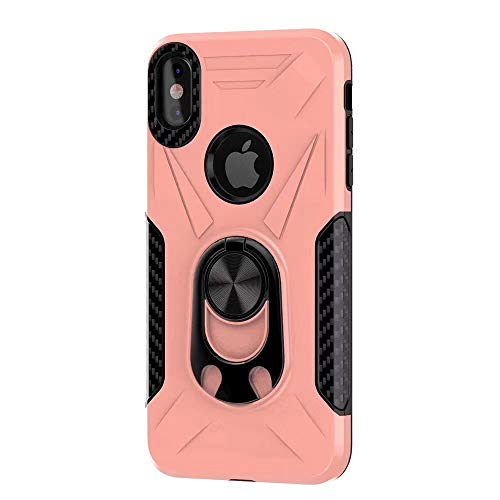 Caseitnow - Military Grade Drop iPhone Xs MAX Case - iPhone Xs MAX Shockproof Case with Magnetic Iron for Car Mount and Ring Holder Kickstand Bottle Opener- Phone Case for iPhone Xs MAX (Rose-Gold)