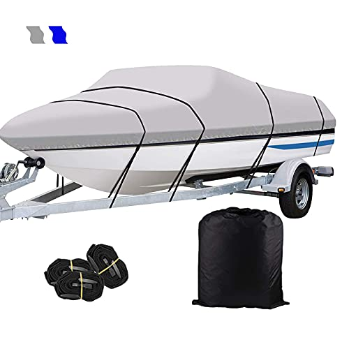 Heavy-Duty Waterproof Boat Cover Cubierta de Barco Trailable Impermeable 210D Impermeable de Grado Marino Tela Oxford Se Adapta a V-Hull Tri-Hull Boat Cover,Gris,14~16ft