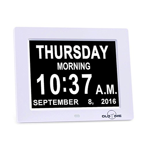 5 Alarm Options - 8 Digital Calendar Alarm Day Clock with Extra Large Non-Abbreviated Day & Month, Alzheimers and Memory Loss Clock - Perfect for Mom Dad And Seniors,Reminders To Take Medications