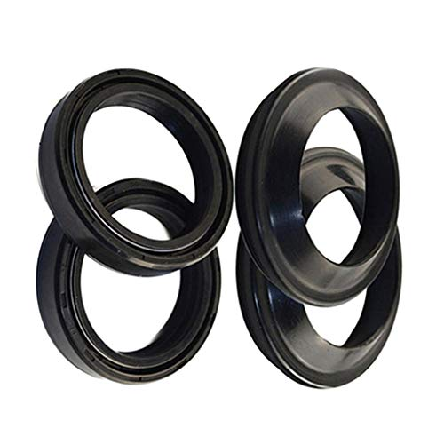 Rubber Front Fork Oil Seal Set 41X54X11Mm & Motorcycle 41X54Mm Dust Seals Oil Seal Bicycle Fork Parts Accessories Black