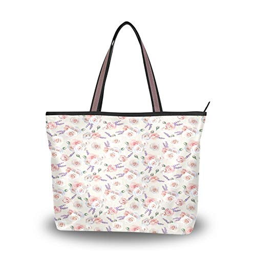 DAOXIANG Valentine's Day Women Tote Bags Top Handle Satchel Handbags,Valentine's Day Gift Rose Flower Large-Capacity Shoulder Bag Shopping Bags for School Work Travel (L)