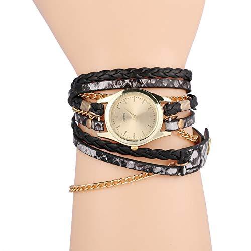 FECAMOS Reloj de Pulsera Estilo de Pulsera Reloj Trenzado Reloj Redondo Simple y Elegante(Black)