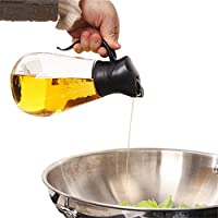 自動オープンオイルボトル-漏れ防止ガラスオリーブオイルポット/醤油酢調味料缶/Kitchen 貯蔵ボトル/クッキングツール550ML