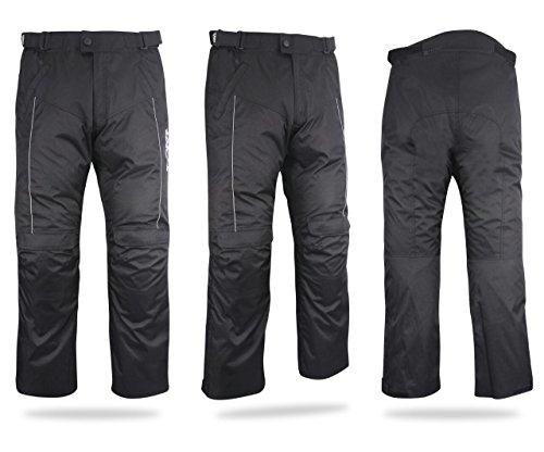 """Pantalones de tela para motorista, resistentes al agua y al viento con protectores, Economy Schwarz, 54 Regulär / Weite 38"""" Länge 32"""" (2XL)"""