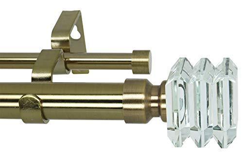 MERIVILLE - Barra telescópica para cortina doble para ventana, 2,5 cm de diámetro, acabado de cristal, 71,1 cm a 121,9 cm, latón envejecido