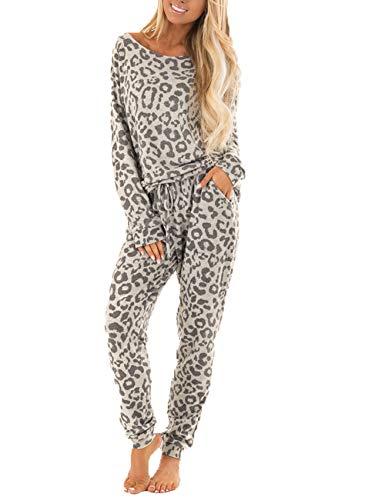 Pijamas De Dos Piezas con Estampado De Leopardo, Ropa Deportiva para Mujer, Pantalones, Trajes, Pijamas Largos para Mujer, Pijamas para El Hogar, Pijamas para Mujer
