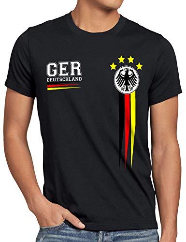 style3 Deutschland Herren T-Shirt EM 2020 Germany Fußball Europameisterschaft Trikot, Größe:M, Farbe:Schwarz