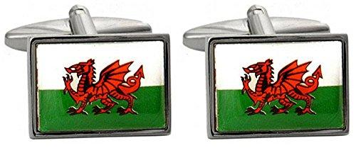 David Van Hagen Blanc/Vert / Rouge Welsh Flag boutons de manchette de